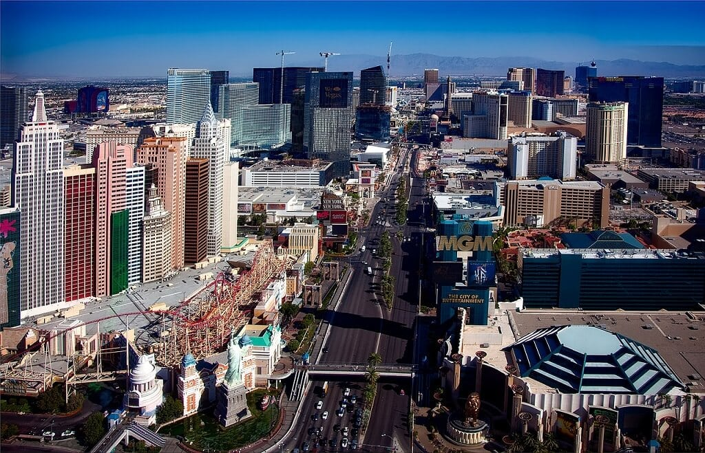 view looking down the Las Vegas Strip