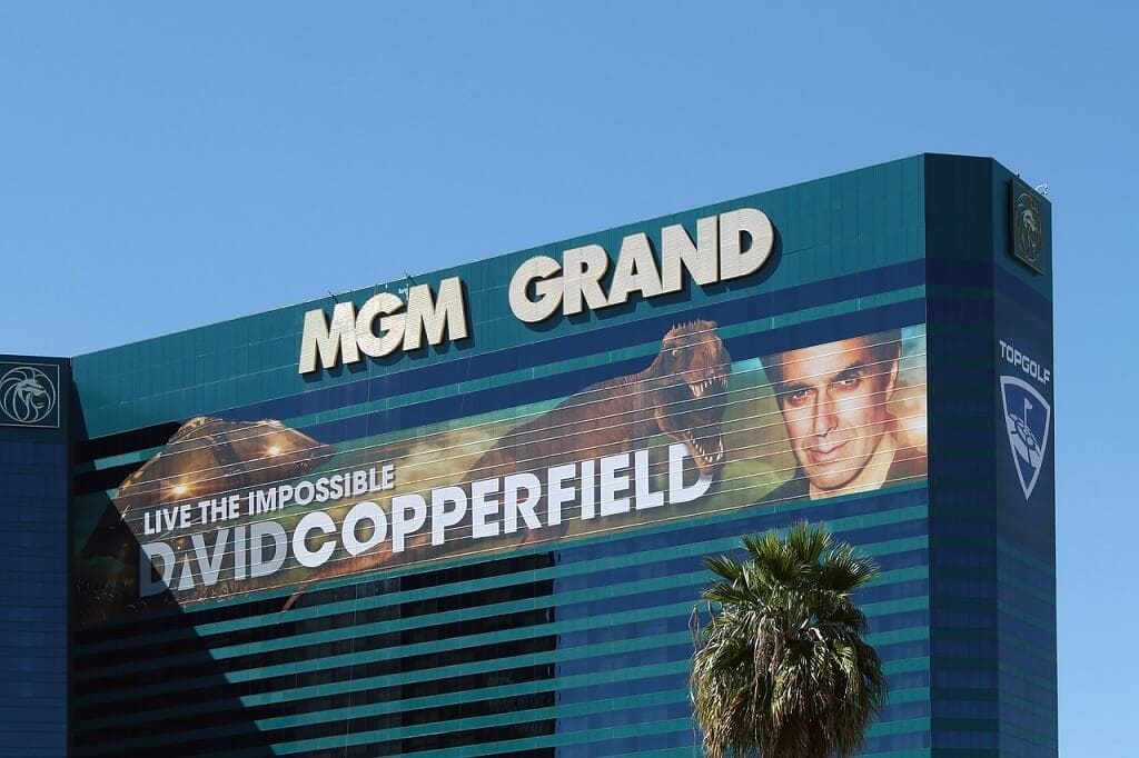 sign for the David Copperfield show on the MGM hotel in las vegas