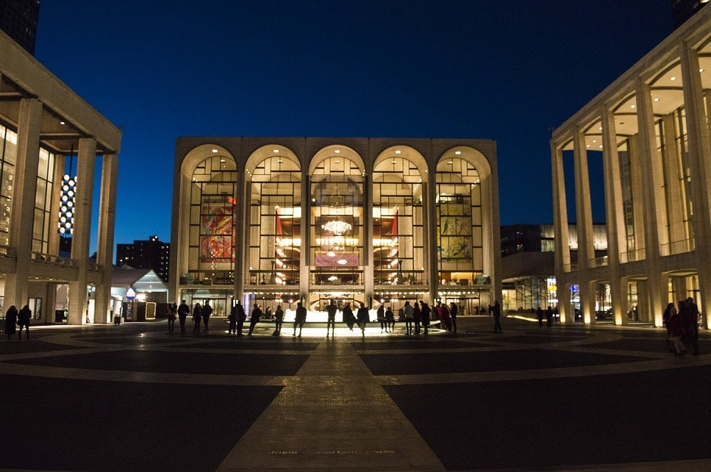 lincoln center lit up at night
