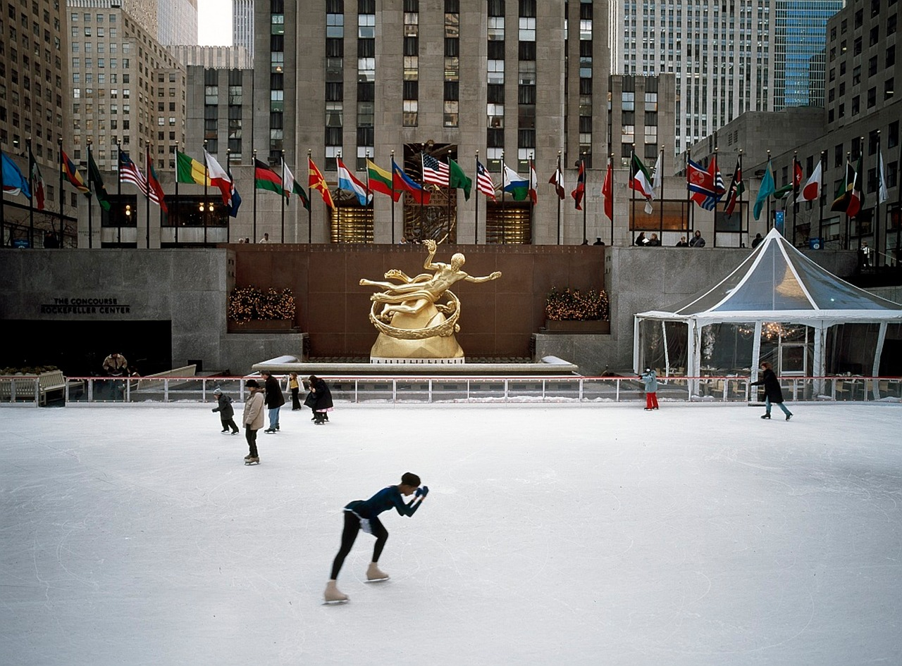 ice skating at Rockefeller Center in NYC