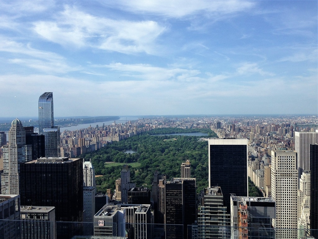 view of central park from top of the rock