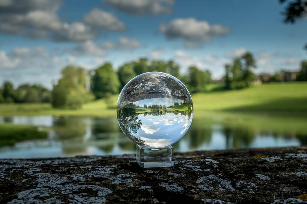 crystal ball photo of the grounds of blenheim palace