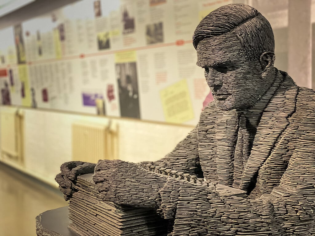 sculpture of Alan Turing at Bletchley Park