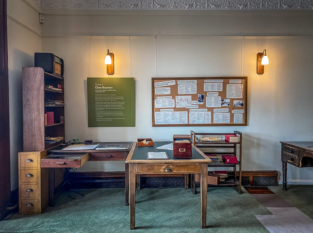 scene from the early days exhibit inside the mansion at Bletchley park