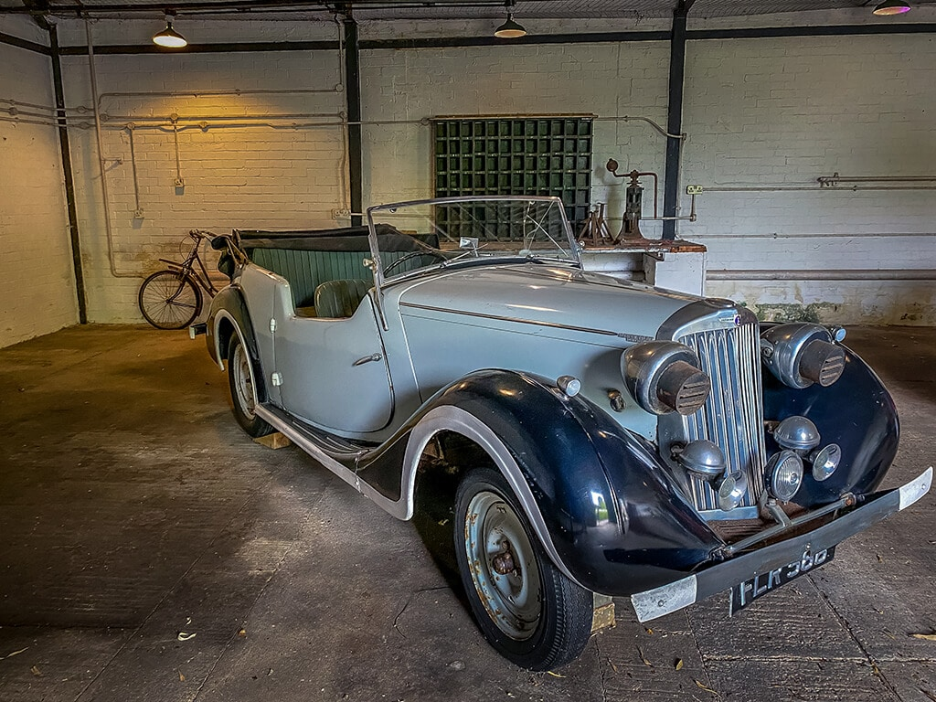 old car used in Enigma movie on dispaly in the garage of Bletchley Park