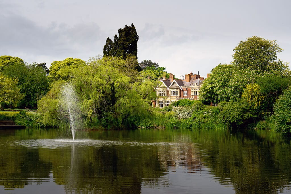 view of the mansion looking across the lake at Bletchley Park