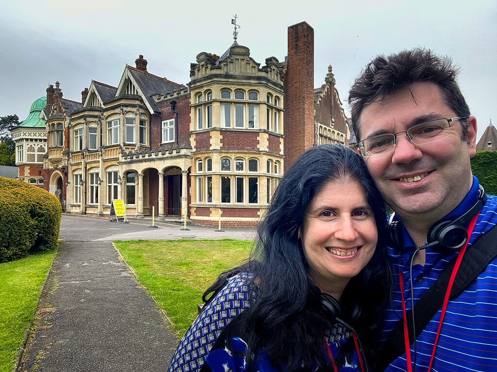 selfie of Anisa and Russell at Bletchley Park