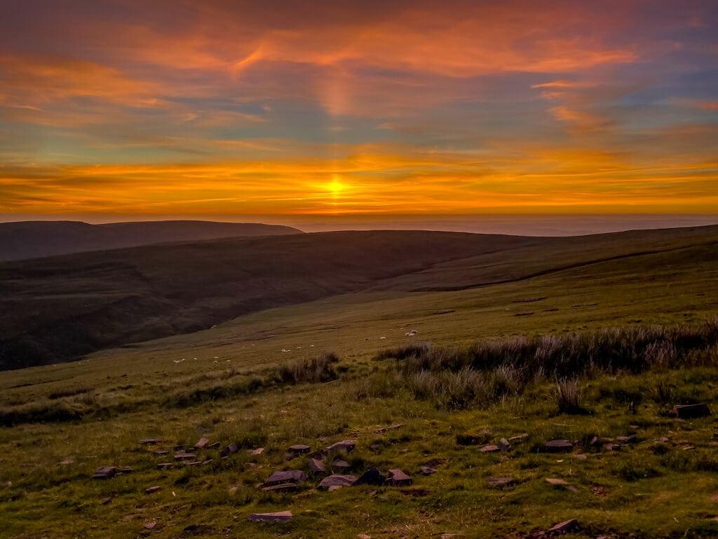 sunset view on pen y fan hike