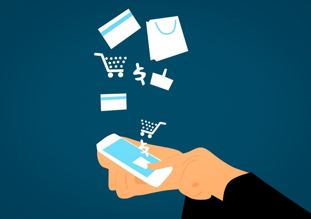 graphic showing shopping online